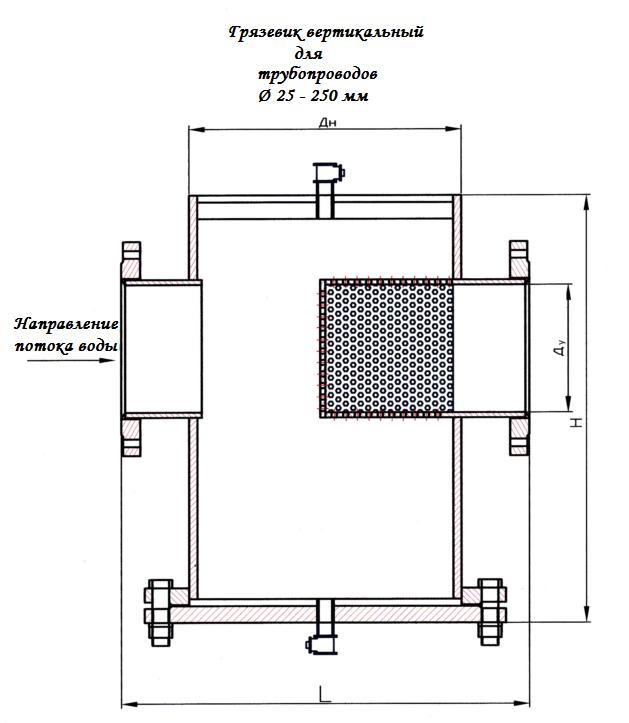 Грязевик вертикальный 25-250 мм
